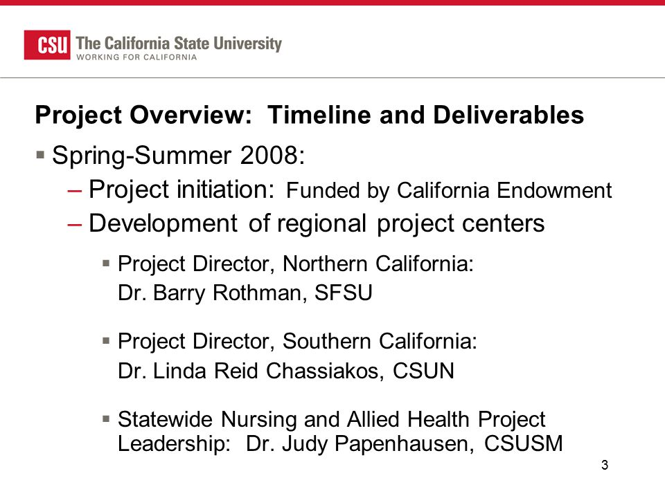 3 Project Overview: Timeline and Deliverables  Spring-Summer 2008: –Project initiation: Funded by California Endowment –Development of regional project centers  Project Director, Northern California: Dr.