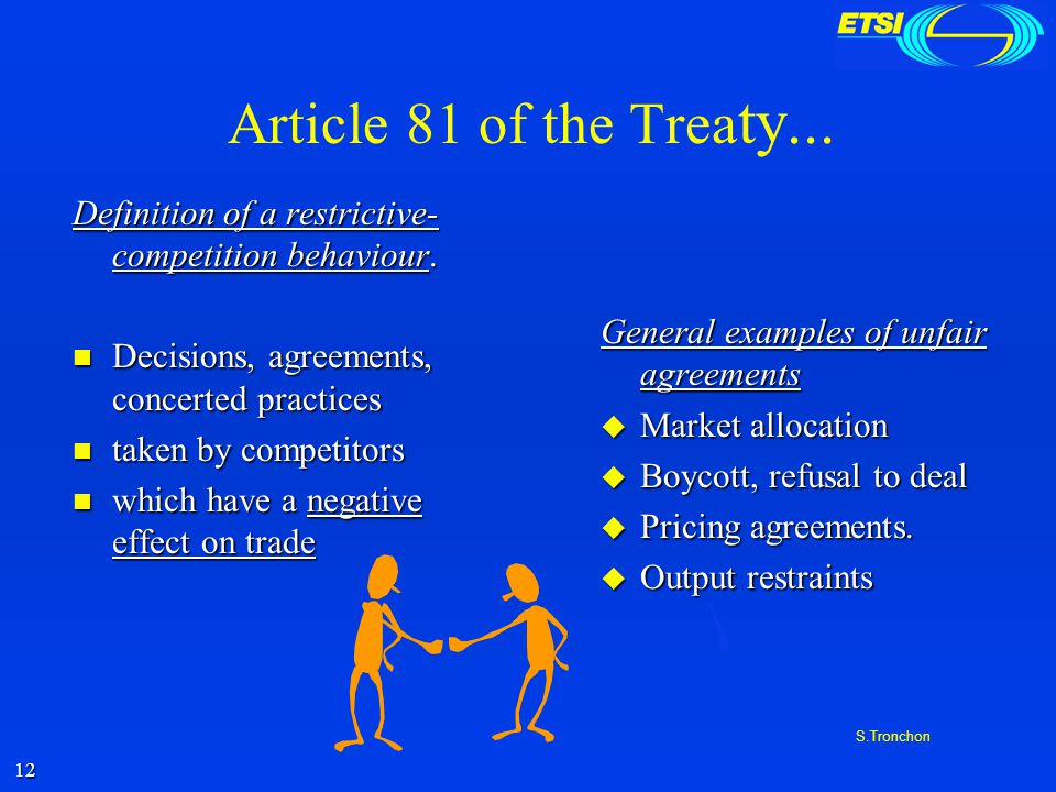 11 S.Tronchon What are the practices to be avoided under competition law.