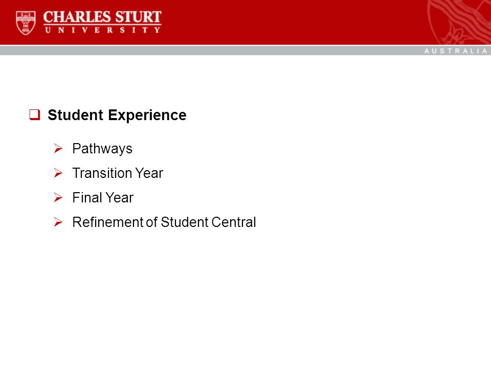  Student Experience  Pathways  Transition Year  Final Year  Refinement of Student Central