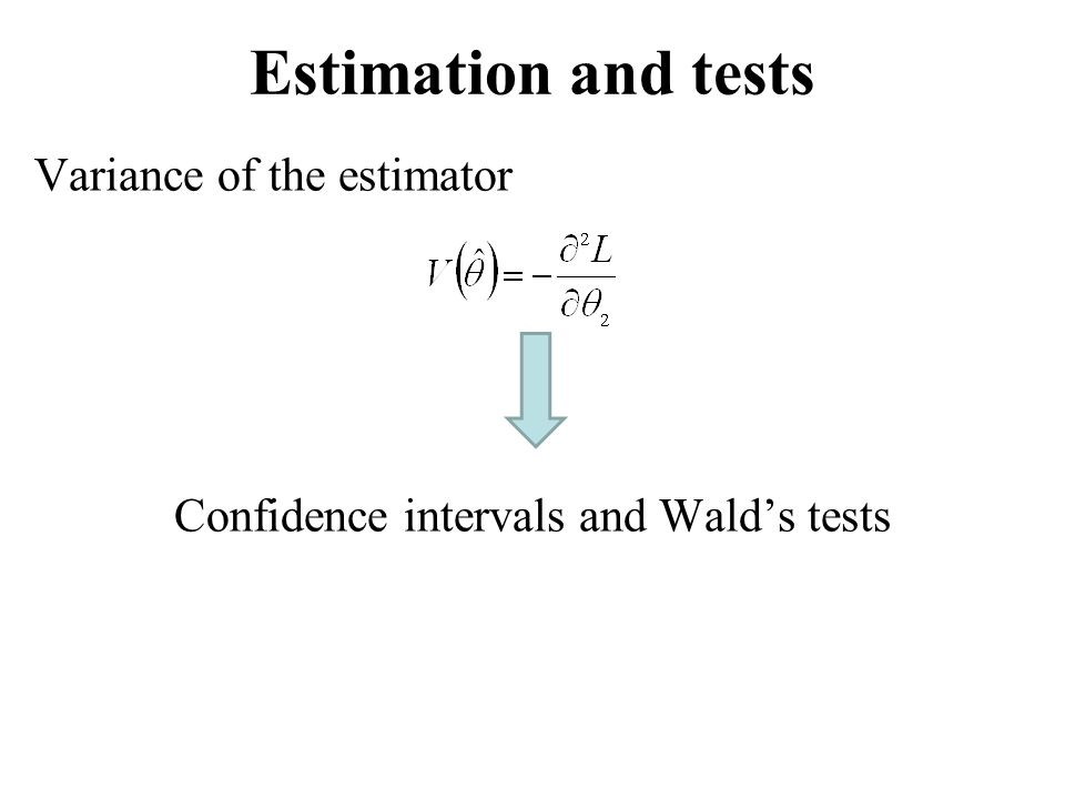 Estimation and tests Variance of the estimator Confidence intervals and Wald's tests