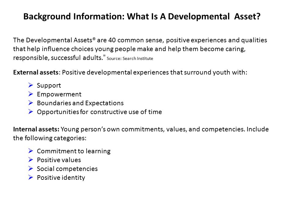 Background Information: What Is A Developmental Asset.