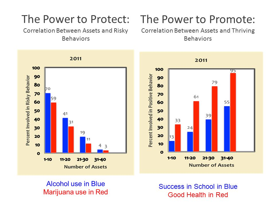 The Power to Protect: Correlation Between Assets and Risky Behaviors Success in School in Blue Good Health in Red The Power to Promote: Correlation Between Assets and Thriving Behaviors