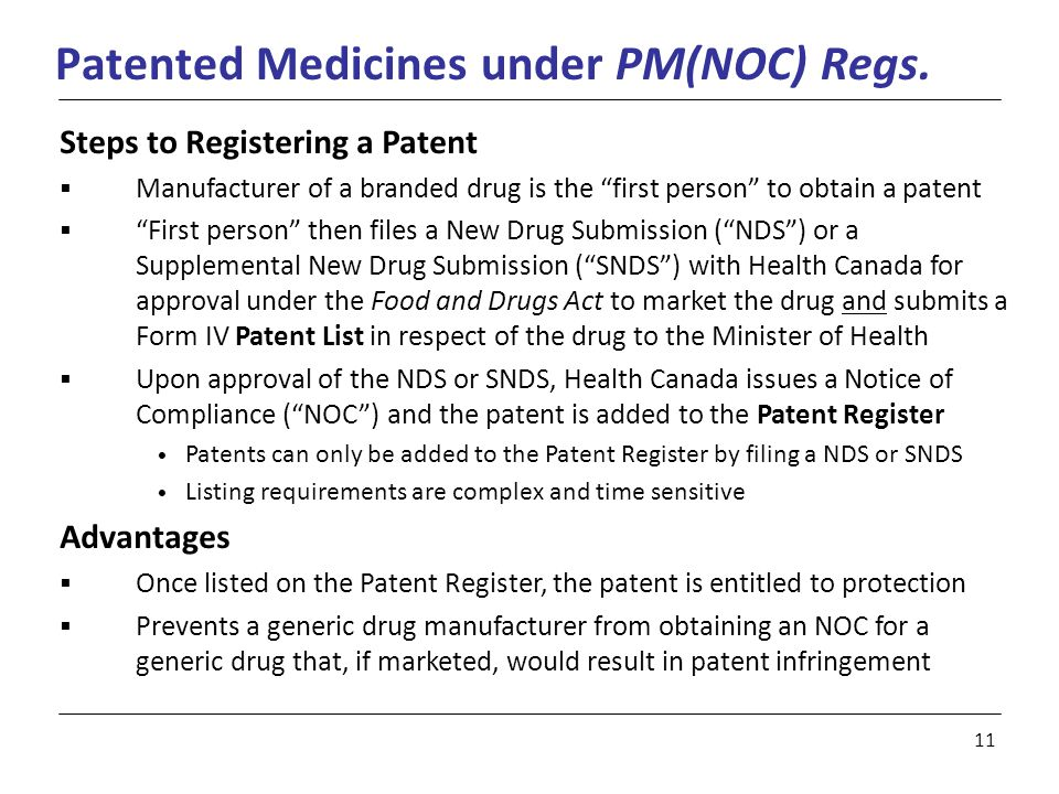 11 Patented Medicines under PM(NOC) Regs.