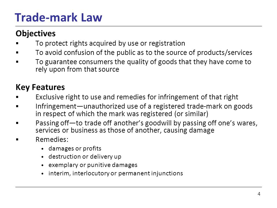 5 Industrial Design Law Objectives  Protection to works where copyright protection is not available  Features of shape, configuration, pattern or ornament that, in a finished article, appeal to and are judged solely by eye Key Features  Exclusive right to the use of that design in Canada for a period of up to 10 years  Infringement—to apply the registered industrial design to an article for purposes of sale, rental, exposure for sale or use of the article, without the consent of the proprietor of that design  Remedies: damages or profits destruction or delivery up exemplary or punitive damages interim, interlocutory or permanent injunctions