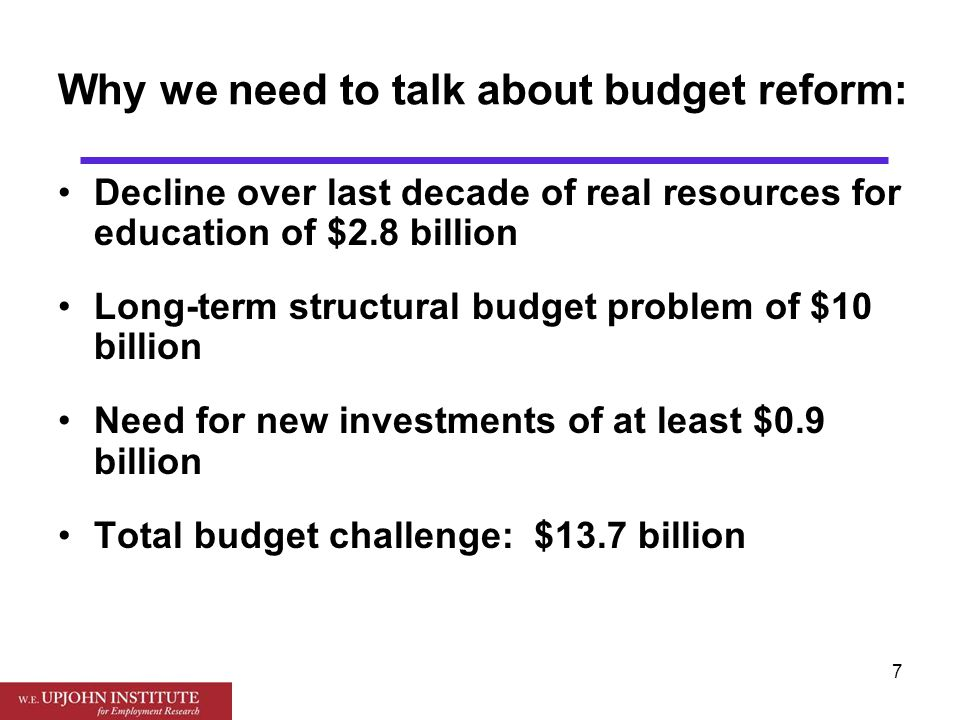 8 Needed budget reforms: Tax side: Broader sales tax, graduated income tax, reduced exemptions for senior citizens, some scaling back of tax breaks Spending side: Scale back correction dollars, restrain health care spending Local side: Need to allow more local initiatives: more options for local school property taxes, local sales tax option
