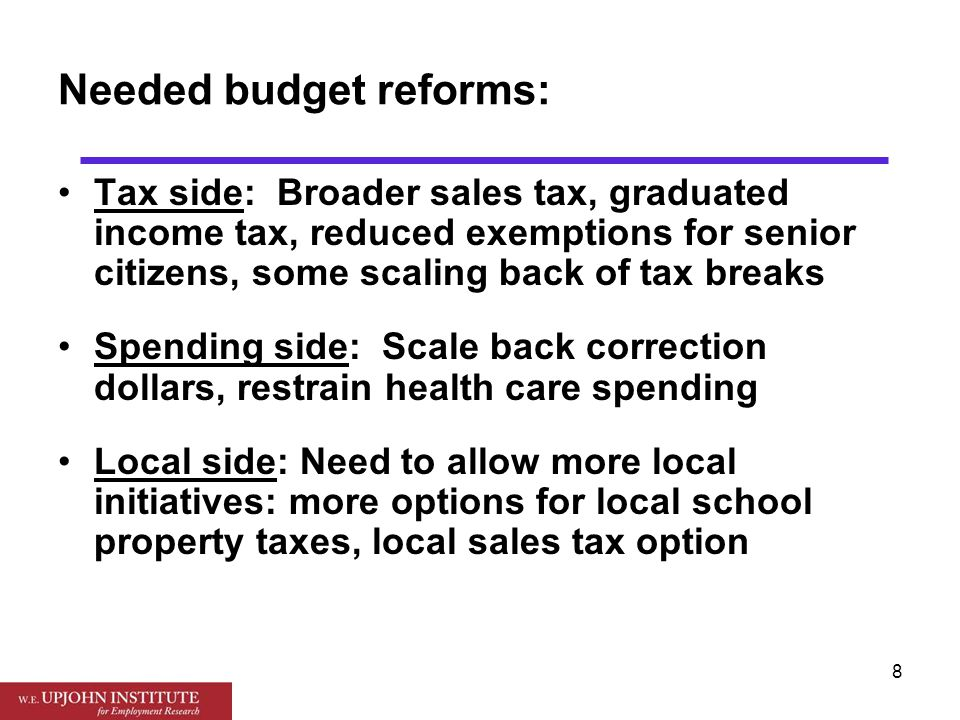 9 Budget reforms must be comprehensive: Address both School Aid Fund and General Fund Address both state budget situation and local options.