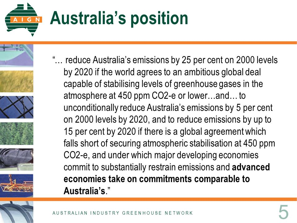 "Australia's position ""… reduce Australia's emissions by 25 per cent on 2000 levels by 2020 if the world agrees to an ambitious global deal capable of"