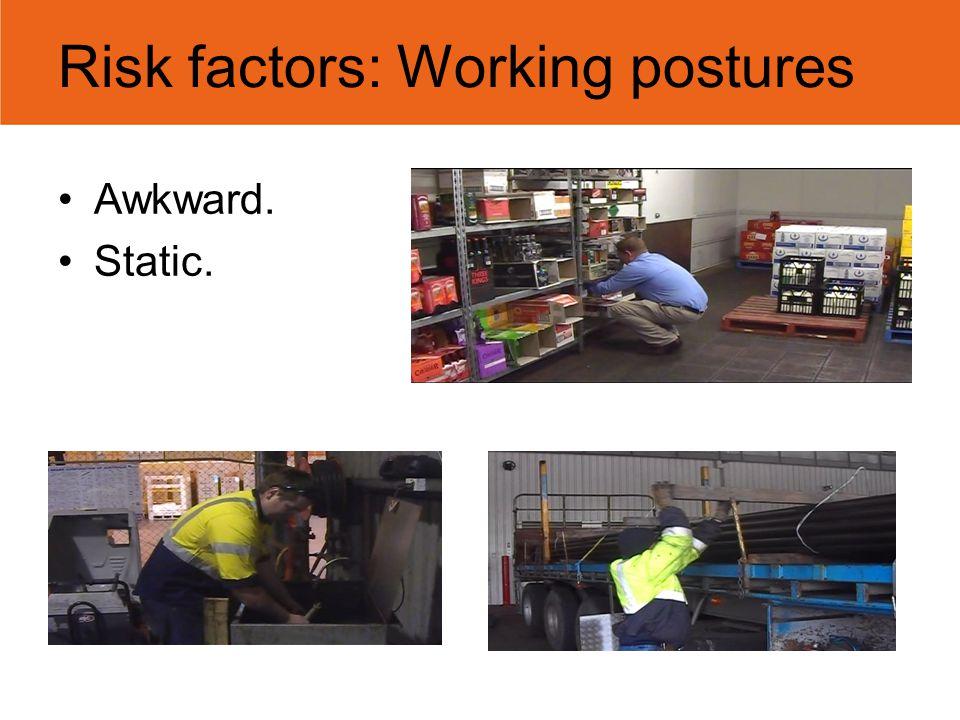 Risk factors: Working postures Awkward. Static.