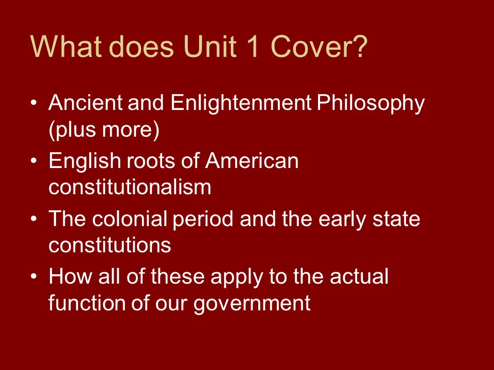 What does Unit 1 Cover.