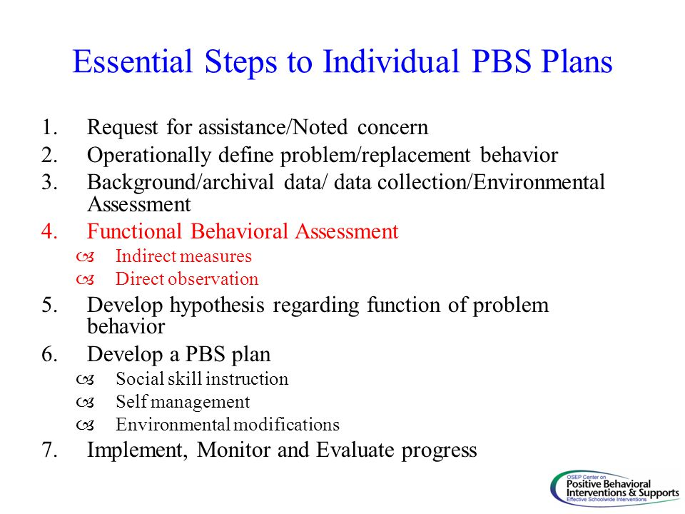 Essential Steps to Individual PBS Plans 1.Request for assistance/Noted concern 2.Operationally define problem/replacement behavior 3.Background/archiv
