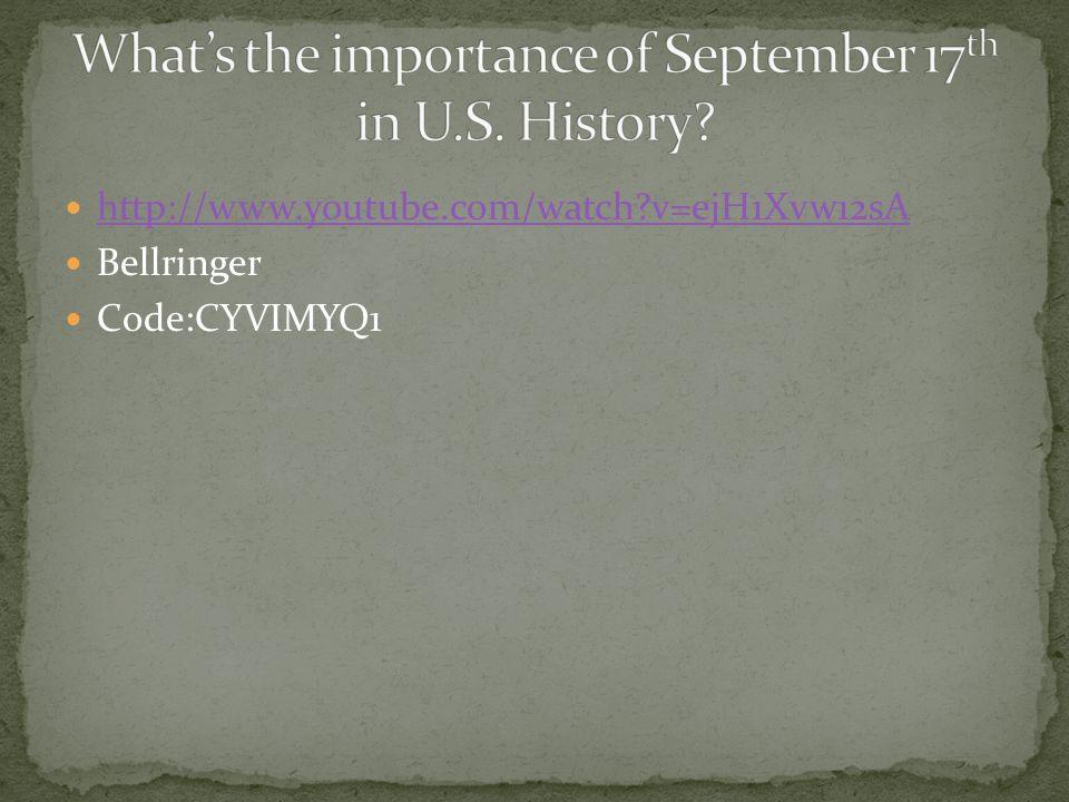 http://www.youtube.com/watch?v=ejH1Xvw12sA Bellringer Code:CYVIMYQ1