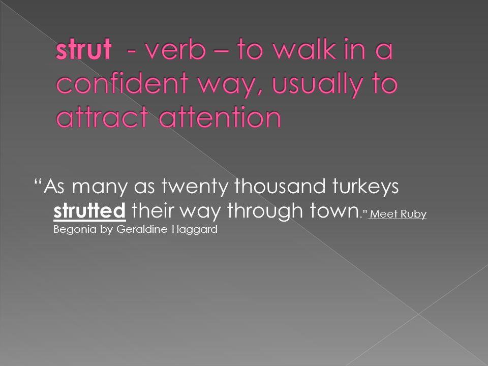 As many as twenty thousand turkeys strutted their way through town. Meet Ruby Begonia by Geraldine Haggard