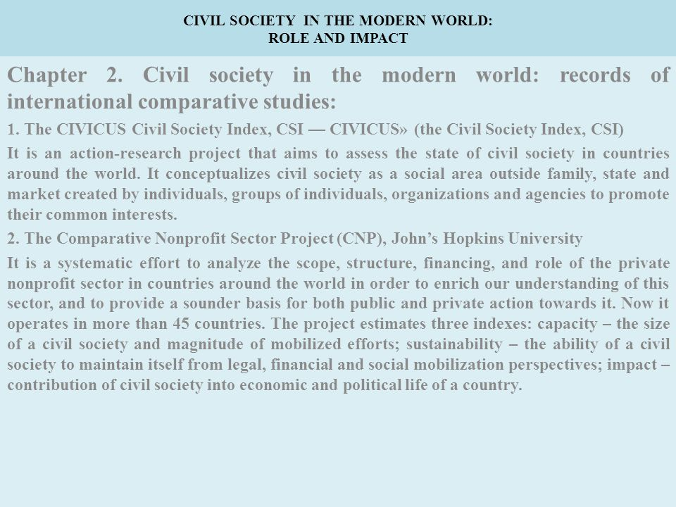 CIVIL SOCIETY IN THE MODERN WORLD: ROLE AND IMPACT Chapter 2.