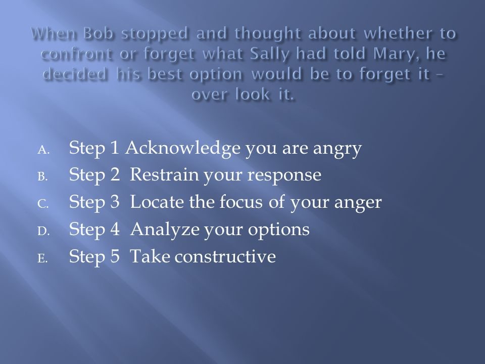 A. Step 1 Acknowledge you are angry B. Step 2 Restrain your response C.