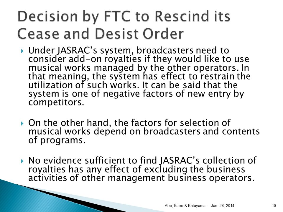  Under JASRAC's system, broadcasters need to consider add-on royalties if they would like to use musical works managed by the other operators.