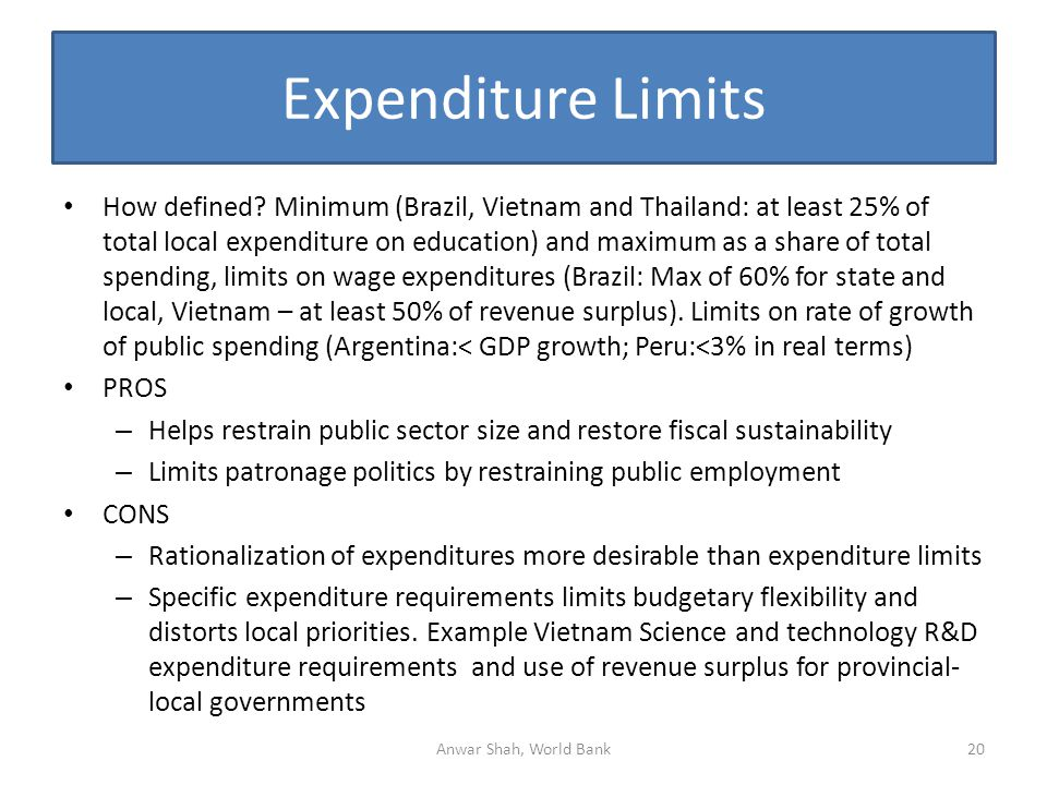 Expenditure Limits How defined.