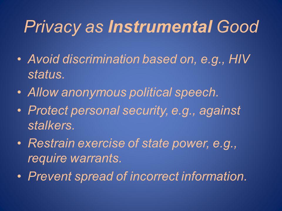 Privacy as Instrumental Good Avoid discrimination based on, e.g., HIV status.