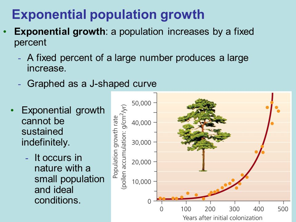 Exponential population growth Exponential growth: a population increases by a fixed percent - A fixed percent of a large number produces a large increase.