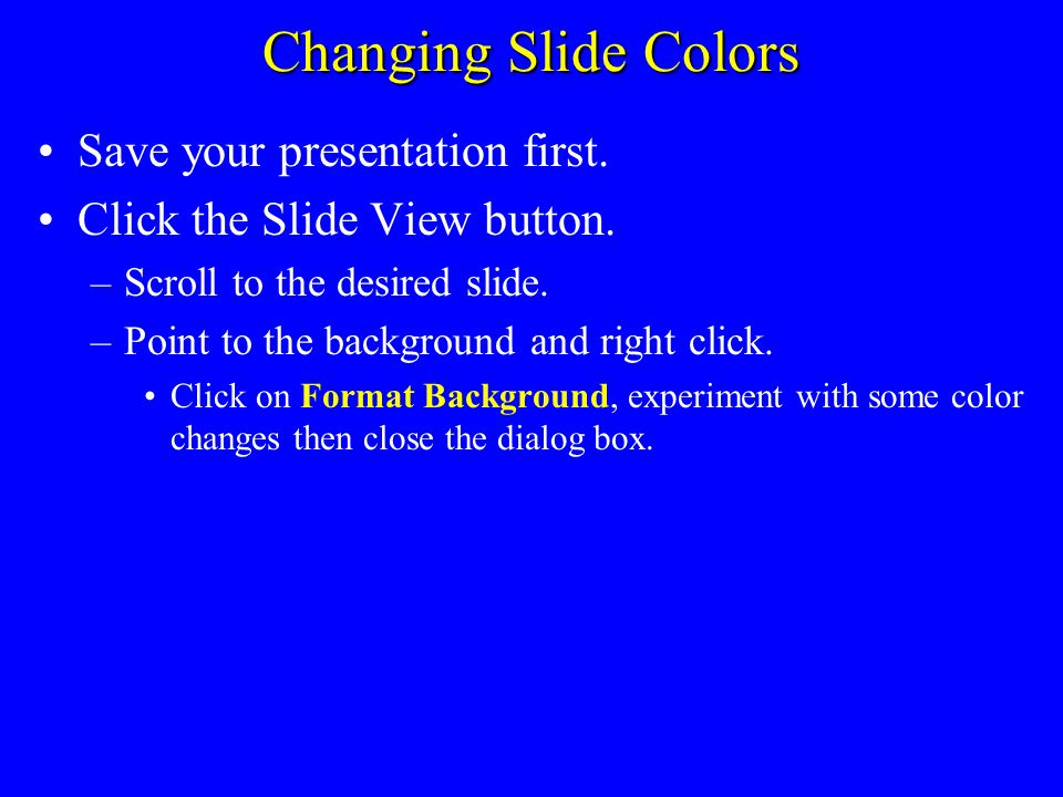Applying Slide Build Effects Save your presentation first. Go to the slide to be modified and click on it. Click the Animations tab on the menu bar Cl