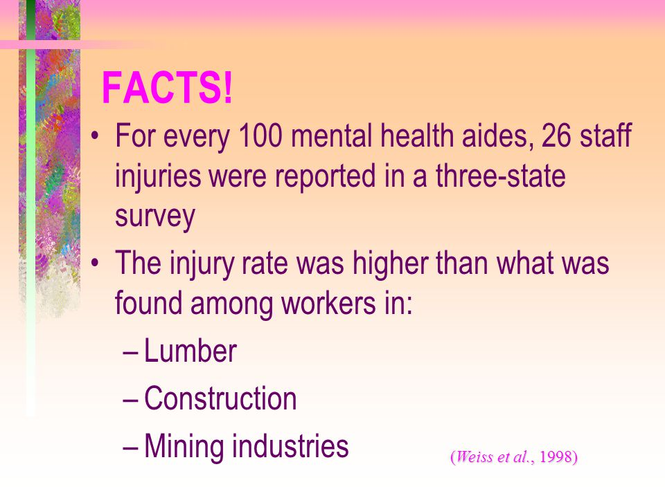 FACTS! For every 100 mental health aides, 26 staff injuries were reported in a three-state survey The injury rate was higher than what was found among