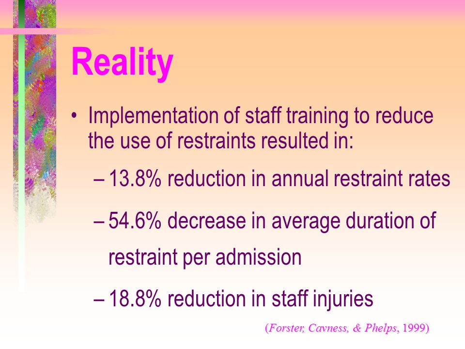 Implementation of staff training to reduce the use of restraints resulted in: –13.8% reduction in annual restraint rates –54.6% decrease in average du