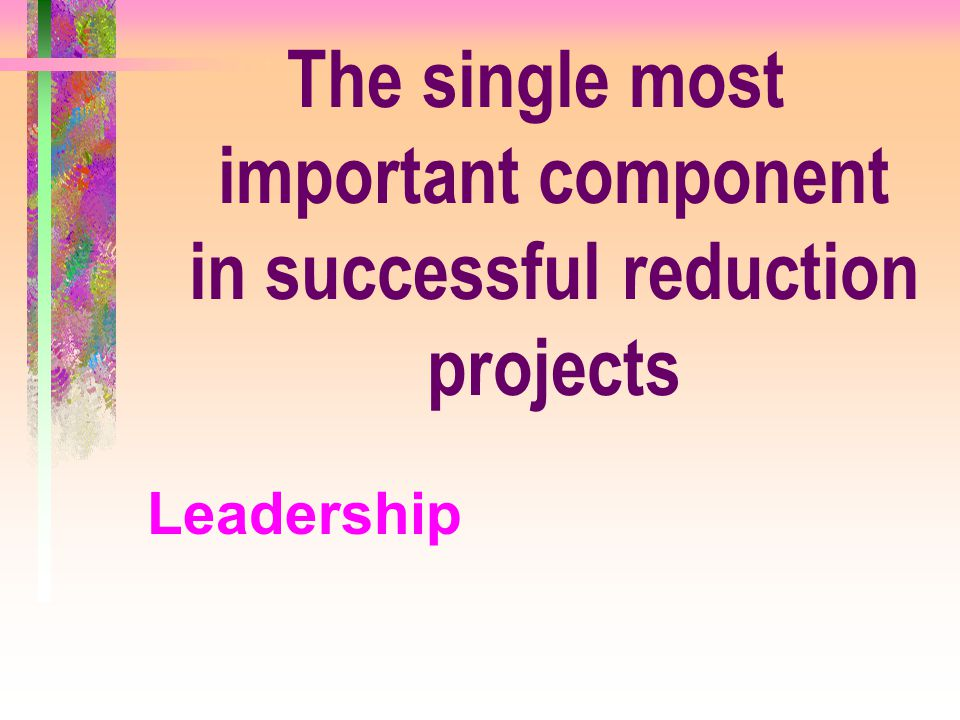The single most important component in successful reduction projects Leadership