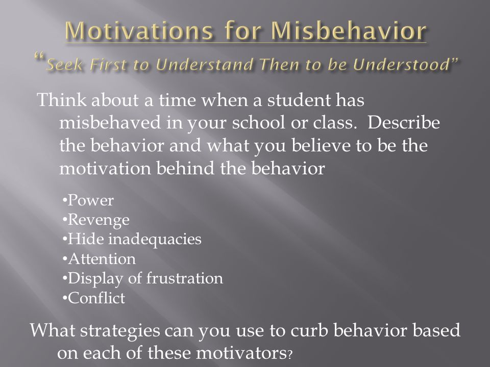 Think about a time when a student has misbehaved in your school or class. Describe the behavior and what you believe to be the motivation behind the b
