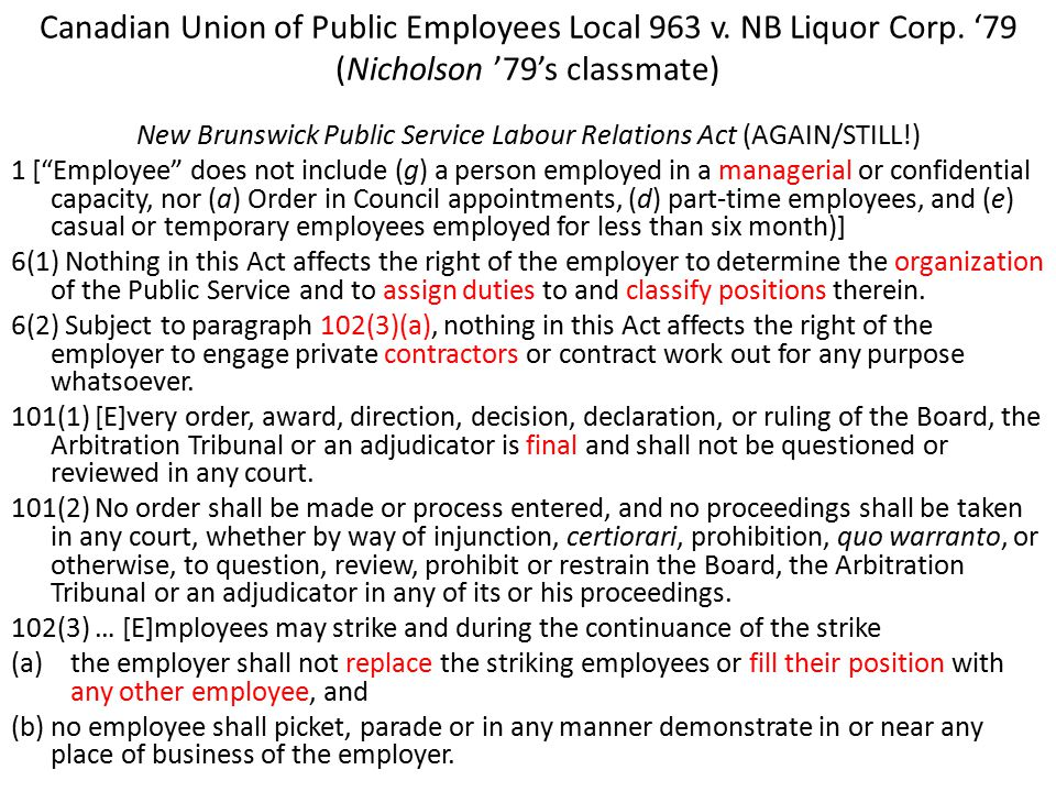 Canadian Union of Public Employees Local 963 v.NB Liquor Corp.