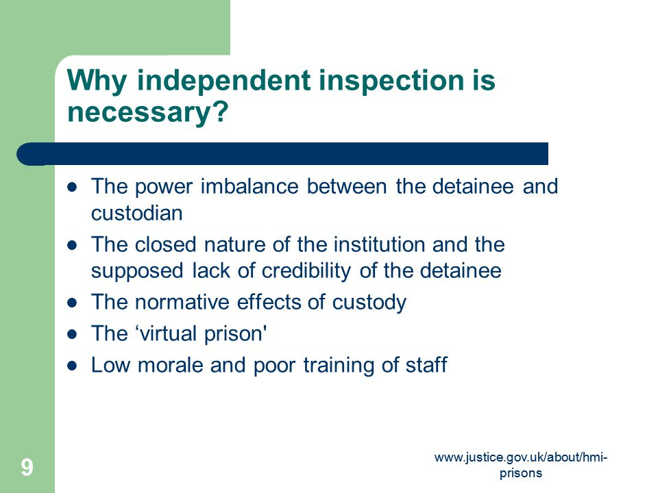 www.justice.gov.uk/about/hmi- prisons 20 UK inspection and monitoring framework 'Expectations' (1) 1.