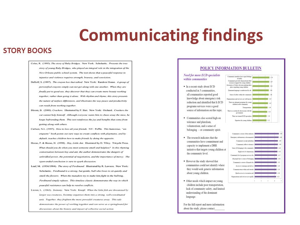 Communicating findings STORY BOOKS