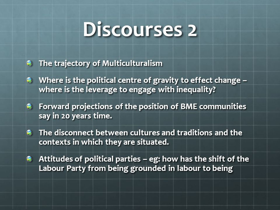 Discourses 2 The trajectory of Multiculturalism Where is the political centre of gravity to effect change – where is the leverage to engage with inequ