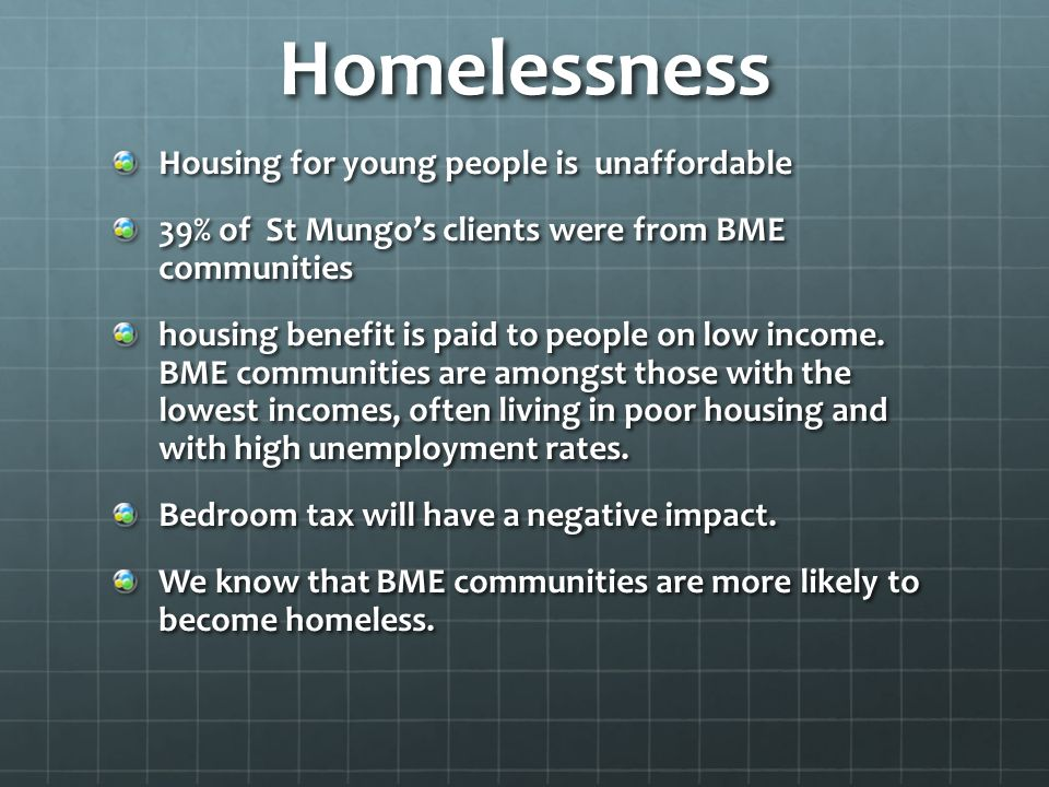 Homelessness Housing for young people is unaffordable 39% of St Mungo's clients were from BME communities housing benefit is paid to people on low inc