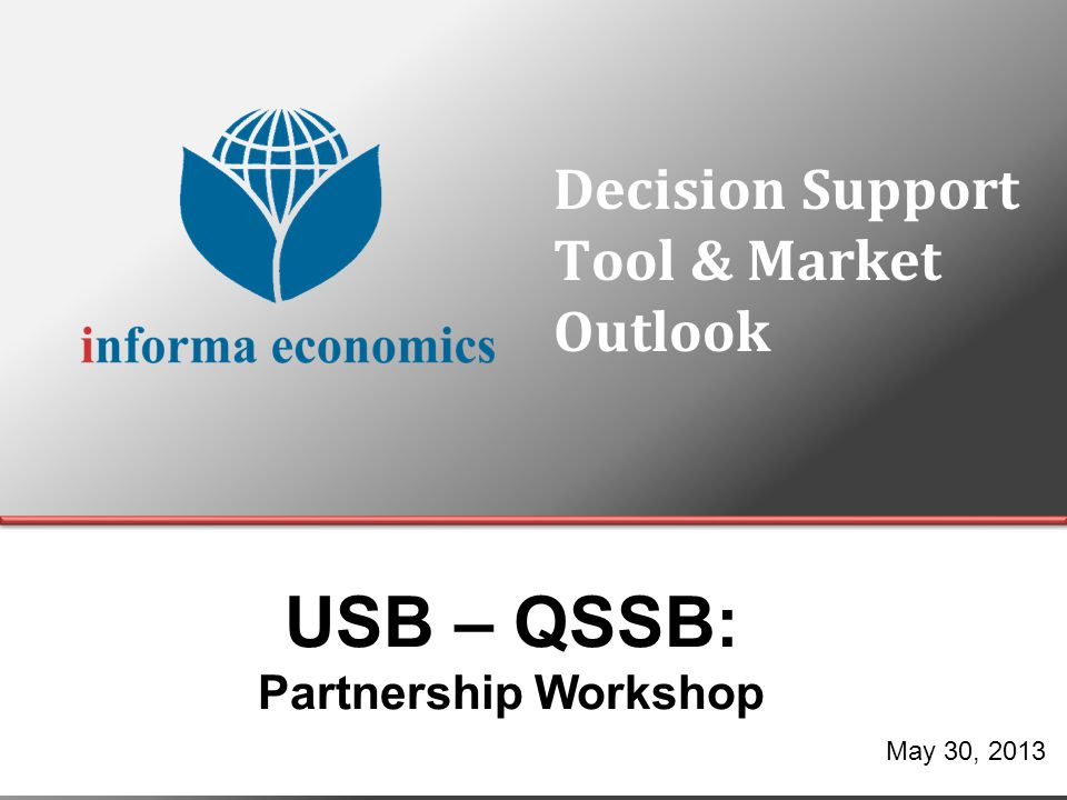 Agenda Decision Support Tool (DST) ◊ Conceptual Overview of the DST ◊ Guided Tour of the DST Market Data ◊ Strategy vs.