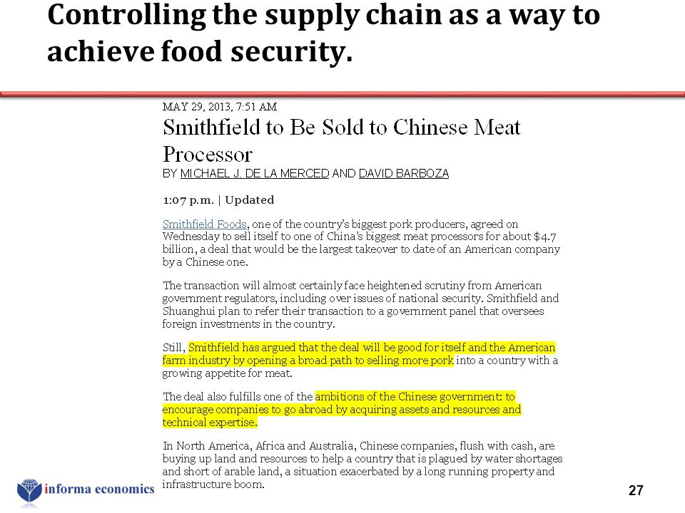 Controlling the supply chain as a way to achieve food security. 27