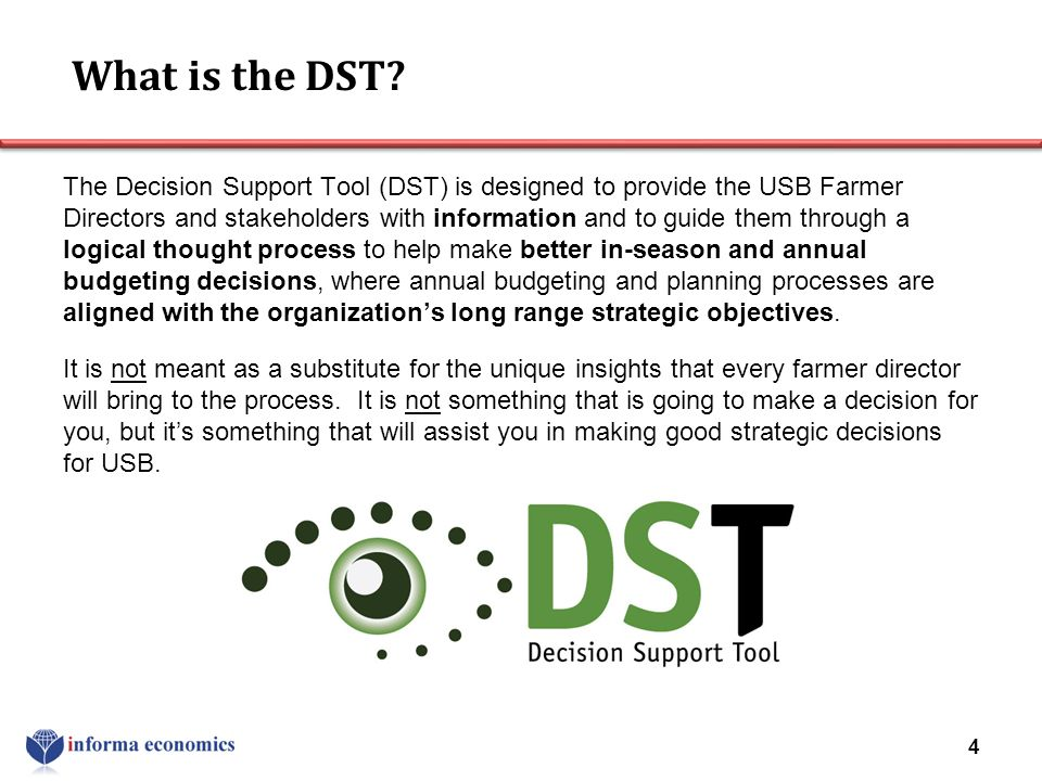 What is the DST? The Decision Support Tool (DST) is designed to provide the USB Farmer Directors and stakeholders with information and to guide them t