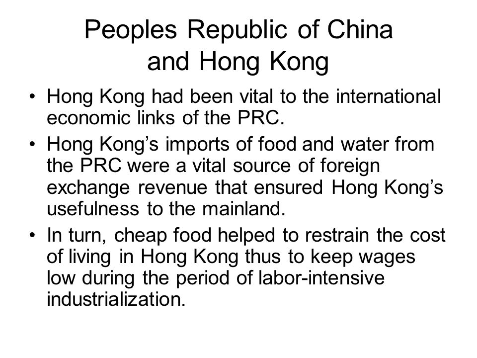After WWII Hong Kong restructured its economy –large-scale relocation of capital, entrepreneurs, a nd assets from mainland China –trade embargo against mainland China after Ko rean War broke out actually benefited HK Hong Kong's textile industry was founded in the 1950s before gradually diversifying in the 1960s to clothing, electronics, plastics and other labor-intensive goods for export.