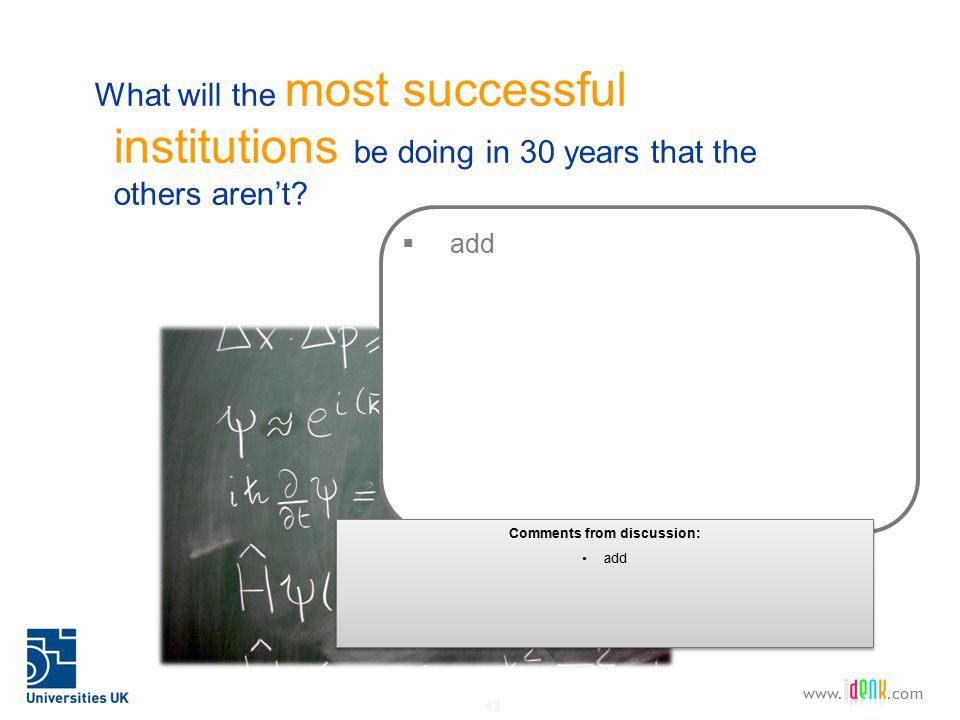 43 www..com What will the most successful institutions be doing in 30 years that the others aren't.