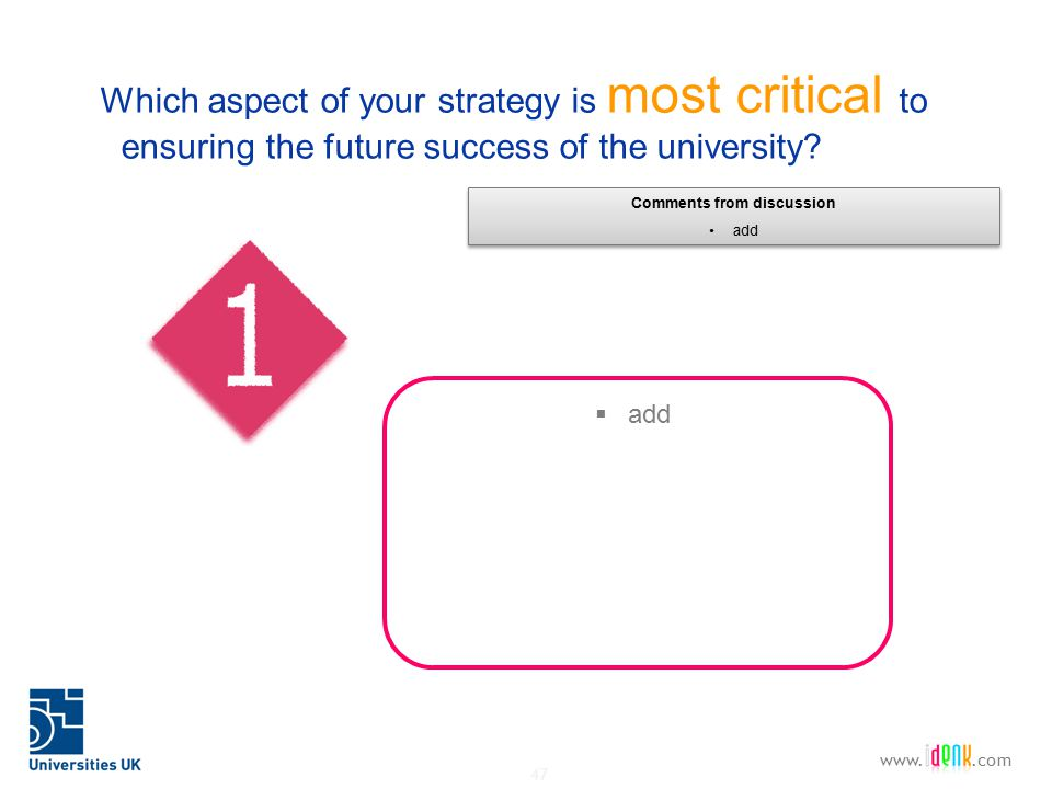 47 www..com Which aspect of your strategy is most critical to ensuring the future success of the university.