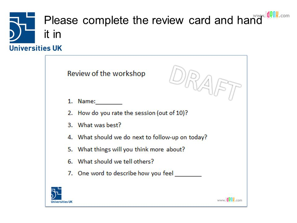 Please complete the review card and hand it in