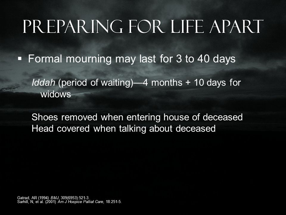 Preparing for life apart  Formal mourning may last for 3 to 40 days Iddah (period of waiting)—4 months + 10 days for widows Shoes removed when entering house of deceased Head covered when talking about deceased Gatrad, AR (1994) BMJ, 309(6953):521-3.