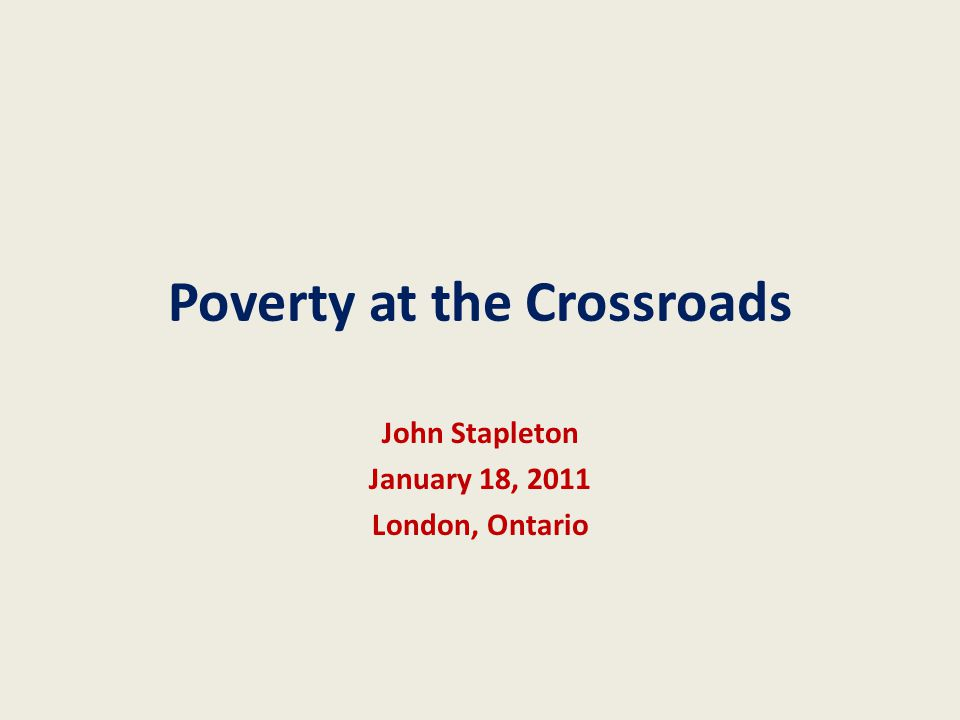 Poverty at the crossroads12