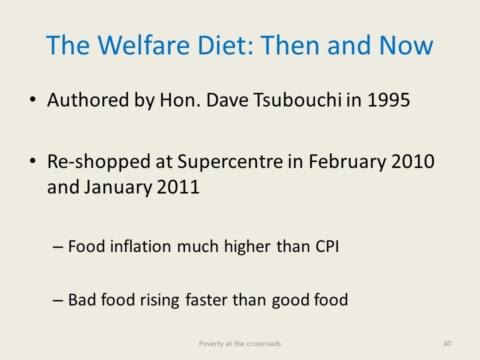 The Welfare Diet: Then and Now Authored by Hon.