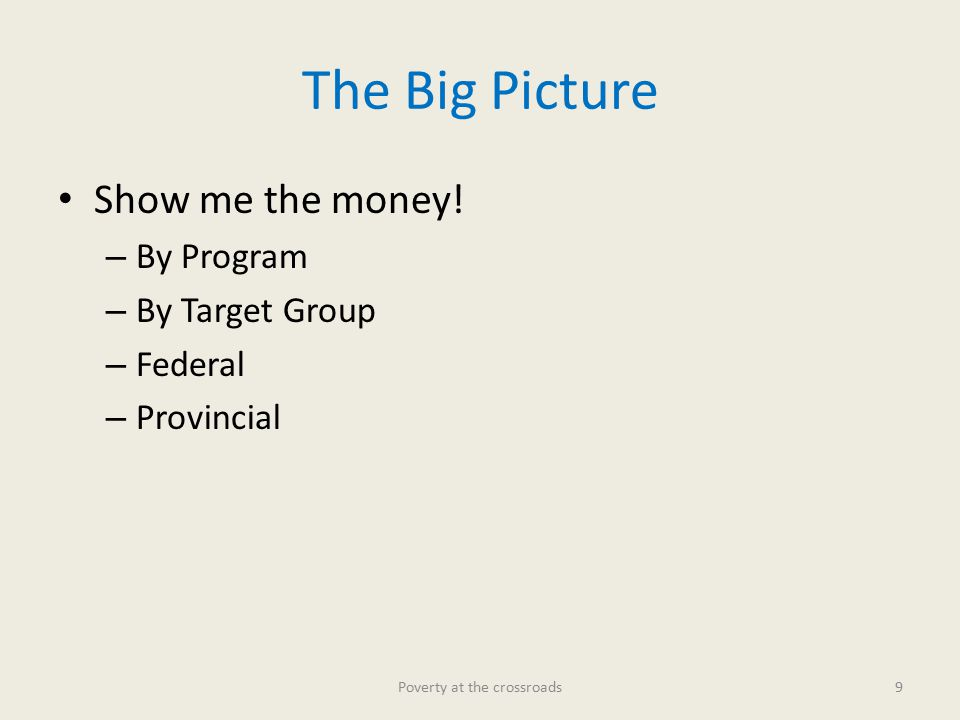 The Big Picture Show me the money.