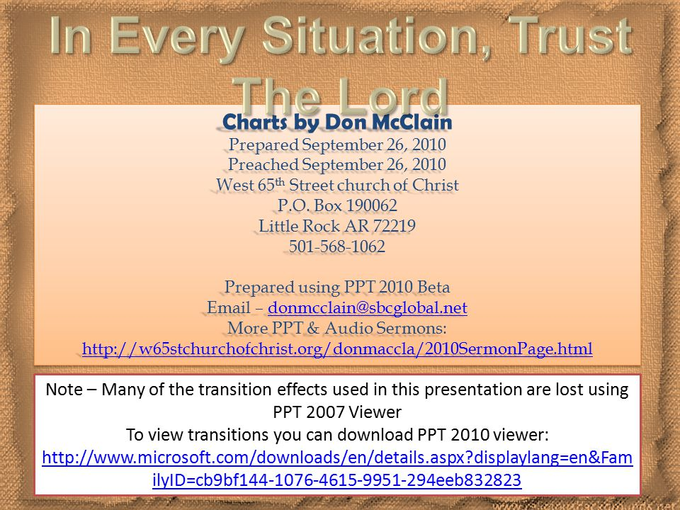 12 Charts by Don McClain Prepared September 26, 2010 Preached September 26, 2010 West 65 th Street church of Christ P.O.