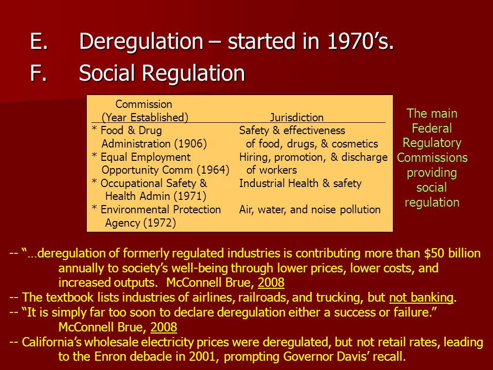 "E.Deregulation – started in 1970's. F.Social Regulation -- ""…deregulation of formerly regulated industries is contributing more than $50 billion annua"
