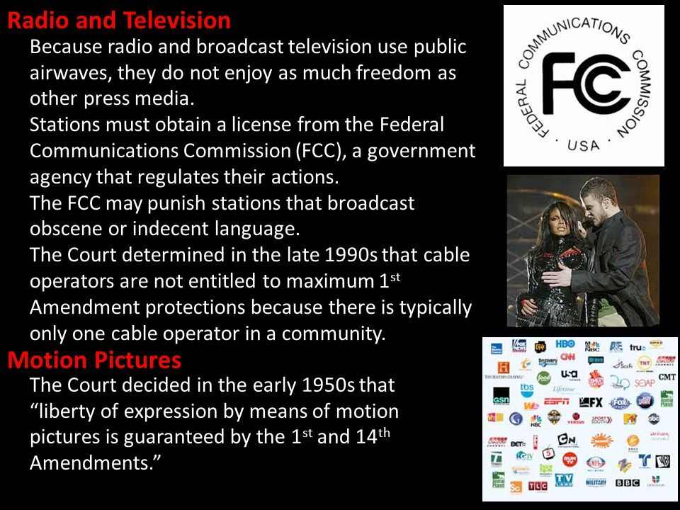 Radio and Television Because radio and broadcast television use public airwaves, they do not enjoy as much freedom as other press media.