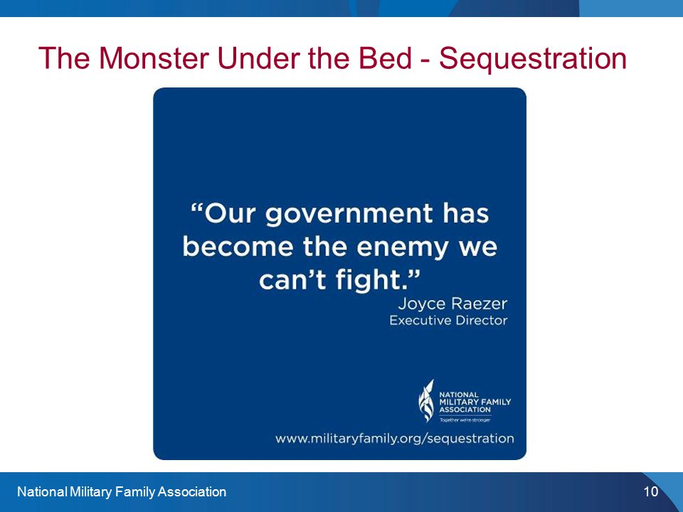 National Military Family Association10 The Monster Under the Bed - Sequestration