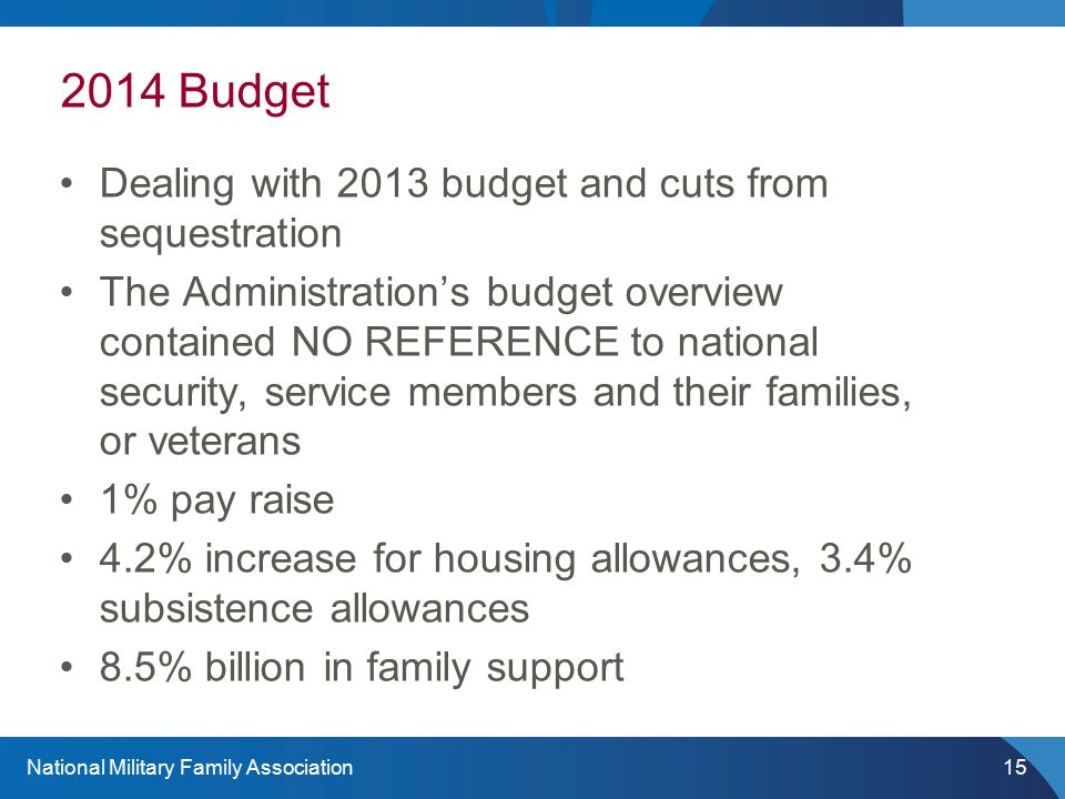National Military Family Association15 2014 Budget Dealing with 2013 budget and cuts from sequestration The Administration's budget overview contained NO REFERENCE to national security, service members and their families, or veterans 1% pay raise 4.2% increase for housing allowances, 3.4% subsistence allowances 8.5% billion in family support