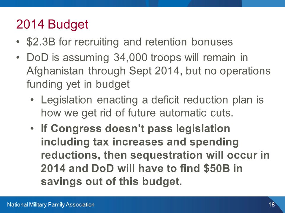 National Military Family Association18 2014 Budget $2.3B for recruiting and retention bonuses DoD is assuming 34,000 troops will remain in Afghanistan through Sept 2014, but no operations funding yet in budget Legislation enacting a deficit reduction plan is how we get rid of future automatic cuts.