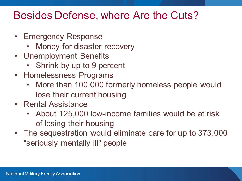Besides Defense, where Are the Cuts? Emergency Response Money for disaster recovery Unemployment Benefits Shrink by up to 9 percent Homelessness Progr